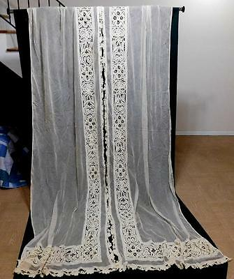 Beautiful Pair of Antique Tape Lace & Net Curtain Panel Drapes  35 x 123 Vtg