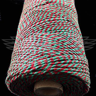 CHRISTMAS CANDY BAKERS TWINE RED GREEN 2mm 2 PLY - PAPER STRING CORD EVERLASTO