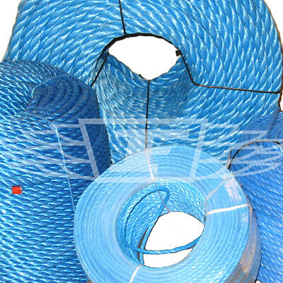 BLUE POLY ROPE COILS, POLYROPE POLYPROPYLENE, 6, 8, 10, 12, 14, 16, 18, 20mm NEW