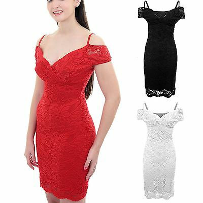 Ladies Strappy Bardot Off Shoulder Wrap V Neck Floral Lace Lined Bodycon Dress
