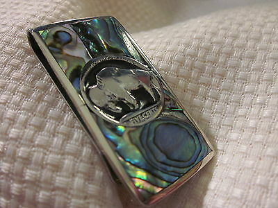 Abalone Inlaid Silver Buffalo Head Money Clip. Bonus 2 .999 Silver Bars.