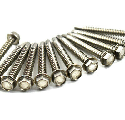 3.5mm 4.2mm 4.8mm 5.5mm 6.3mm A2 STAINLESS HEX TEK SELF DRILLING TAPPING SCREWS