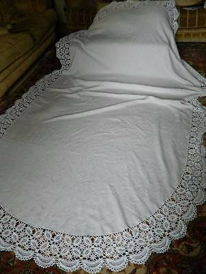 Huge antique Victorian white Irish linen oval tablecloth crochet lace 11ft long