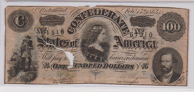 T65~~$100 Confederate Currency Note~~1864 Serial #61510~~Repaired