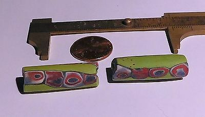 Pair of Antique Venetian Tubular Lateral Cane Millefiori African Trade Beads