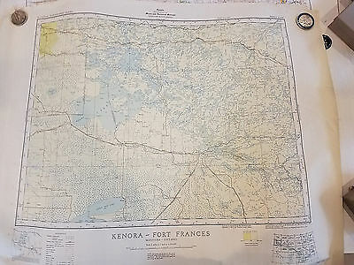 Vtg Kenora Fort Frances Manitoba Canada Map 1951 Lake of the Woods