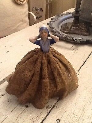 Vintage Antique Art Deco Porcelain Half Doll Lady Pin Cushion Old Lace Pretty!