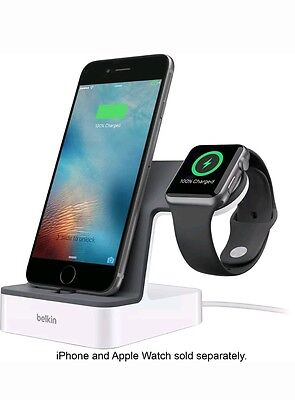 Belkin - PowerHouse Charge Dock for Apple Watch + iPhone - White