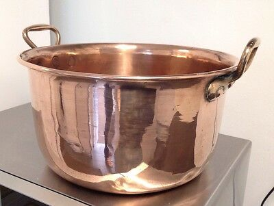 "VICTORIAN 1800'S 15"" X 7"" HEAVY Copper Jam Pan Kettle with BRASS Handles"
