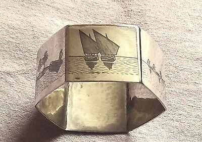 Unusual Solid Silver Middle Eastern Niello Engraved Sexagonal Napkin Ring