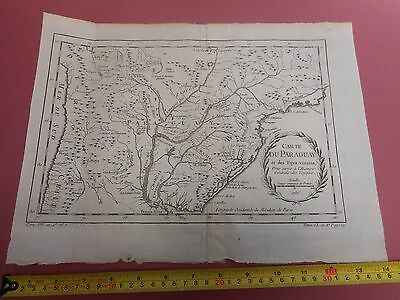 100% Original Chart Of Coast Of Paraguay River Plate  Map By Bellin  C1770 Vgc
