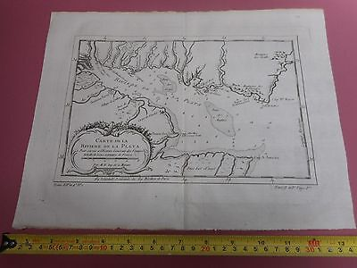 100% Original Chart Of  River Plate  Paraguay Map By Bellin  C1770 Vgc