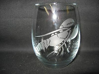 New Etched Lobster Stemless Wine Glass Tumbler