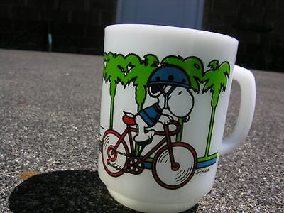 Vintage Snoopy Coffee Cup Anchor Hocking 1958  Pedal Power Peanuts Mug
