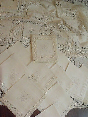 Royal Spanish Linen Handmade Embroidered Lace Tablecloth 12 Napkins 12 Doilies