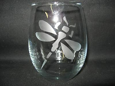 New Etched Dragonfly Stemless Wine Glass Tumbler