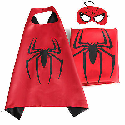 Kids Superhero Spiderman Cape & Mask Costume Set For Birthday and Party Favors