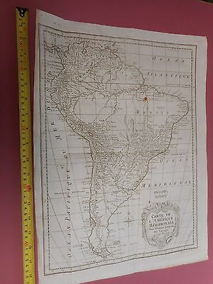 100% Original Large Chart  Of South America  Map By Bellin  C1770 Vgc