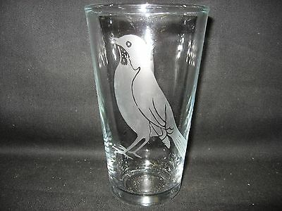 New Etched Robin Pint Glass Tumbler