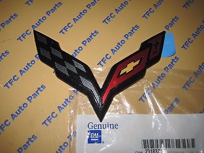 Chevy Corvette C7 Front Bumper Emblem Carbon Flash OEM Genuine GM New  2014-2017
