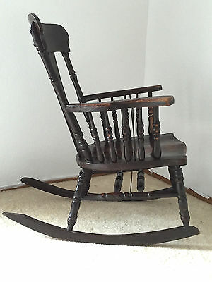 Antique Solid Mahogany Rocking Chair, Carved Spindle Sides & Support - Awesome!