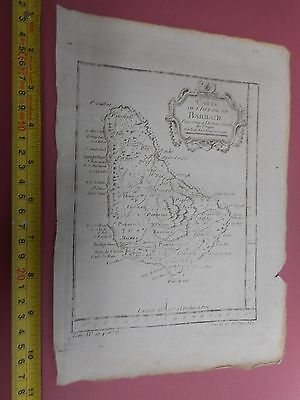 100% Original Chart Of  Island Of Barbados West Indies Map By Bellin  C1770 Vgc