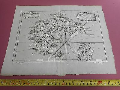 100% Original Chart Island Of Guadeloupe  West Indies Map By Bellin  C1770 Vgc