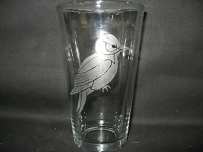 New Etched Hairy Woodpecker Pint Glass Tumbler