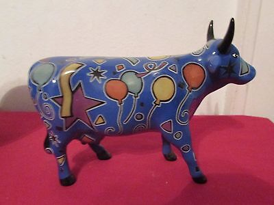 Chicago Cows on Parade Party Cow  2000 Collectible Blue with Balloons & Stars
