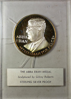 Abba Eban Israel Silver Medal Statesman Sterling Silver Proof Gilroy Roberts