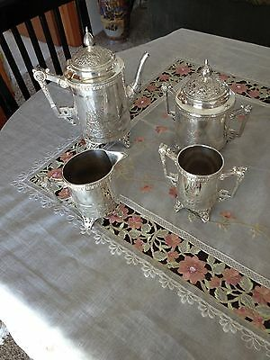 NEW PRICE-Amazing Antique Meriden B Company Silver Tea Set