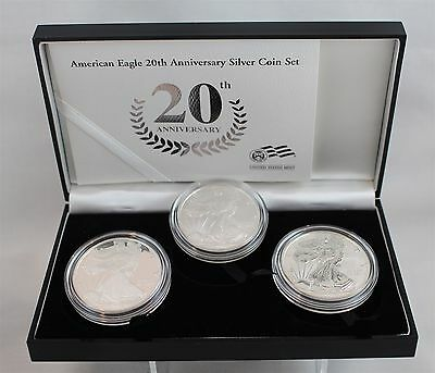 2006 US Mint American Eagle 20th Anniversary Silver Coin Set 3 Troy Ozs 99.9% Ag