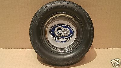 Vintage COOPER Tire Advertising Tire Ashtray - Glass Insert w/Rubber Tire #13