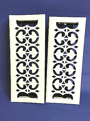 "New Pair / 2 Vintage White Floor Wall Metal Heat Vent Grate w. Louvers 13"" x  5"""