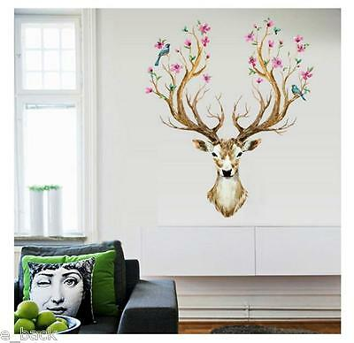 3D Plum flower deer Wall Stickers For living room Home Decor DIY Removable CA