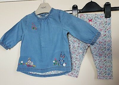 Next baby girls denim tunic and leggings floral bunny 3-6 months