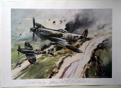 Aviation print, 322 Squadron RAF (Dutch) - signed by 5 wartime pilots