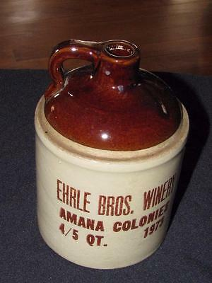 Vintage Ehrle Bros. Winery Amana Colonies Crock Whiskey Jug 1973