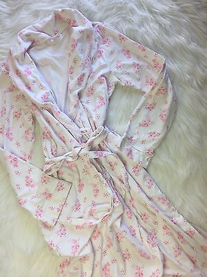 GUC Motherhood Maternity Nursing Gown Robe  - Cotton Knit Pink Floral