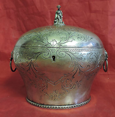 Scarce Antique Silber & Fleming Ornate Tea Caddy Lion Head Man Figural