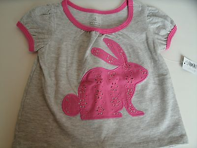 Old Navy Girls Gray Pink Short Sleeve Bunny T-Shirt Size 3-6 Months NWT