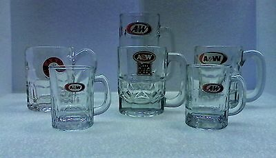 """6 Vintage A & W Root Beer Mugs - A W Mugs - All Different - 7"""" - 3 1/4"""""""