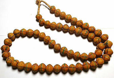 Strand of Antique Venetian King Fancy Bicone African Trade Beads
