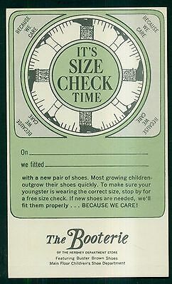 1950's Hershey,PA Department Store 'The Booterie' Size Check Time Postal Card