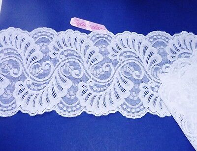 2  m   of   Double Sided    White   Stretch   lace   Pretty Sheen    14 cm