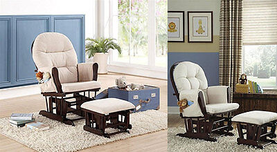 Nursery Rocker Glider Ottoman Set Upholstered Baby Toddler Furniture Chair Cream