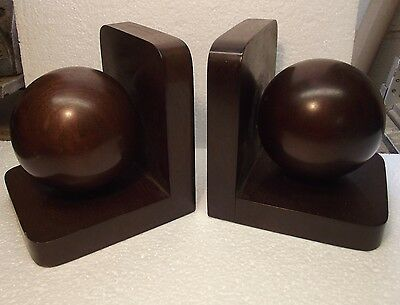 Pair of Vintage Art Deco Mahogany Bookends Beautiful Wood