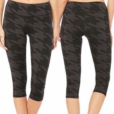 $84 NWT Alo Yoga Airbrush Capri in Black Houndstooth Women's Size Small