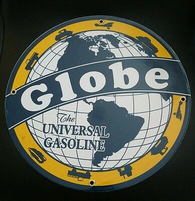Globe GASOLINE Oil advertising Porcelain Metal sign...~12""