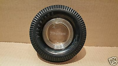 Vintage FIRESTONE Tire Advertising Tire Ashtray - Glass Insert w/Rubber Tire #16